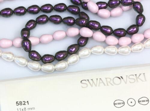 4 X Genuine SWAROVSKI 5821 Pear Shape Crystal Pearls 11x8mm Many Colors