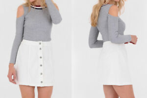 New Women High Waist White Denim A-line Pencil Mini Skirt UK 8-14 ... c716cb392