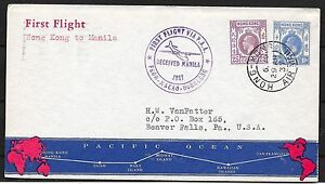 Hong Kong covers 1937 1st Flight cover to Manila