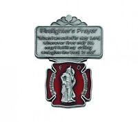 Visor Clip St. Florian Firefighter Medal Enameled & Prayer Silver Pewter Clip