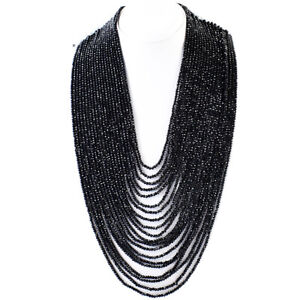 931.00 Cts Natural 20 Strand Black Spinel Round Cut Beads Necklace NK 14E119