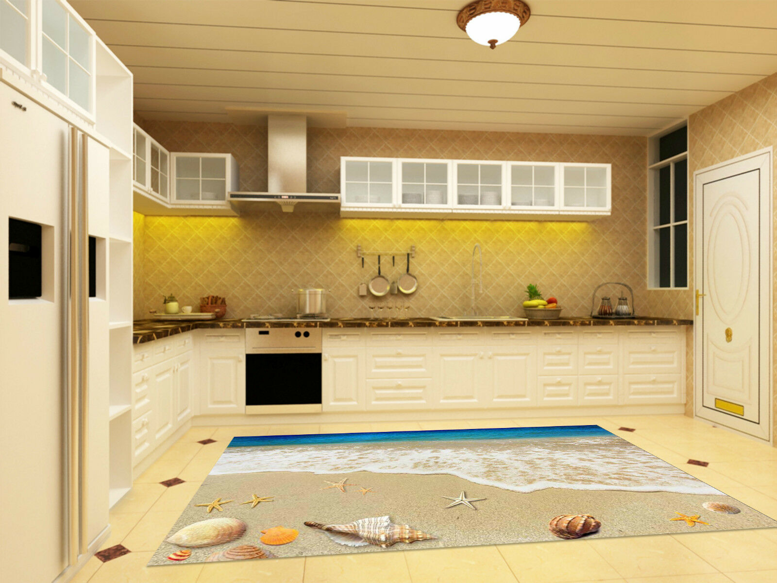 3D Romantic Beach Kitchen Mat Floor Murals Wall Print Wall Deco AJ WALLPAPER CA