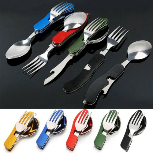 Camping Stainless Steel Kits 4 in 1 Folding Fork//Spoon//Knife//Bottle Opener