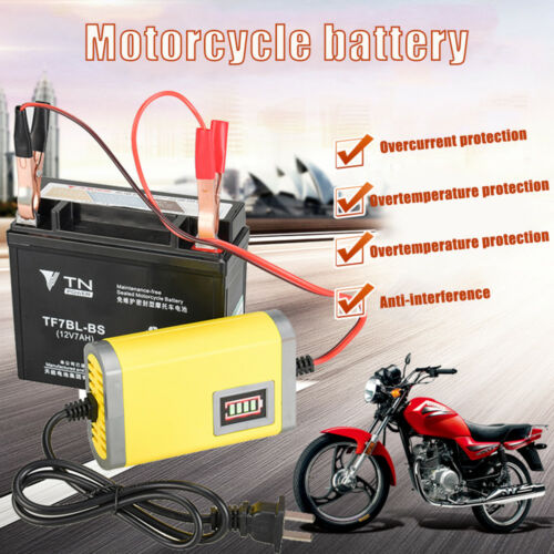 3Stages 12V//2A Car Motorcycle Battery Charger Lead Acid AGM GEL LED Display E0T6