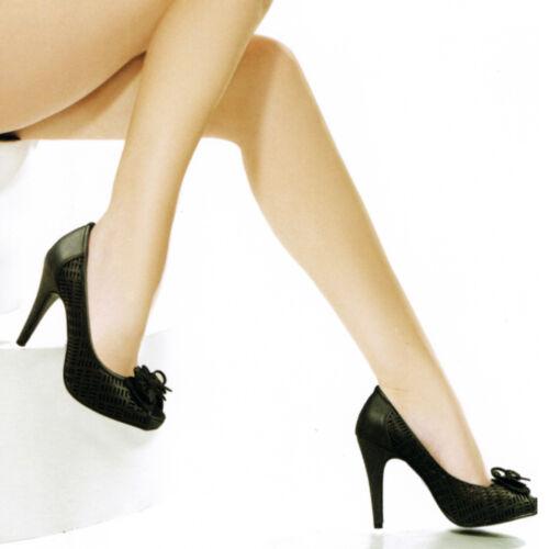 Scarpe Donna Decolete Spuntate Tacco Plateau Medio Morbide Fiocco Lacci Majo S48