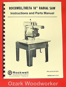 rockwell delta 18 radial arm saw operator s parts manual 0640 ebay rh ebay com Delta 10 Radial Arm Saw Delta 12-Inch Radial Arm Saws