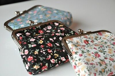 New Cute Coin Change Purse Clutch Wallet Bag Spring Summer Flowers Kisslock