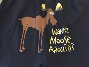 WANNA-MOOSE-AROUND-Men-039-s-Brown-Boxers-Med-32-34-Lazy-One-Sexy-Fun-Valentine