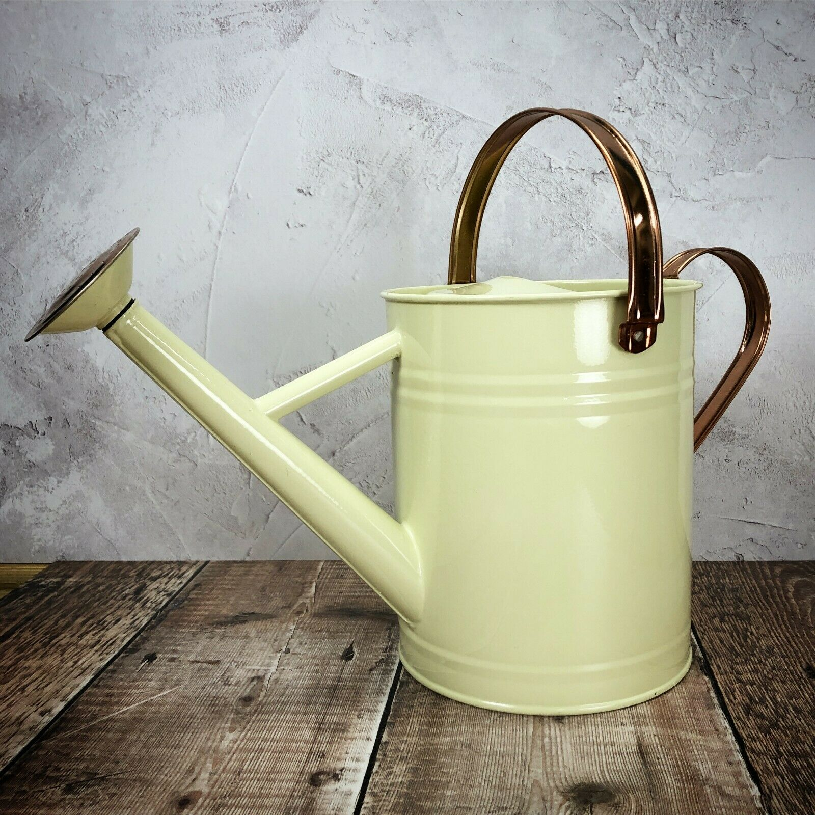 3.5 Litre Heritage Cream Metal Watering Can with Rose by Garden Selections