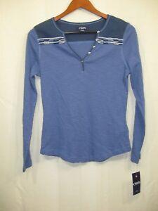 NWT-Chaps-by-Ralph-Lauren-Women-039-s-Blue-Knit-Henley-Top