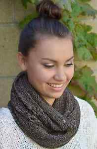 Knit-Scarf-Charcoal-Gray-Rainbow-Cowl-Infinity-Cowl-Snood-Men-or-Women
