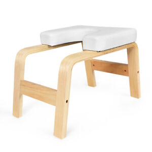yoga headstand bench wood stand w/ pvc pads home family