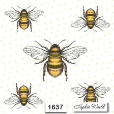 (1637) TWO Individual Paper Luncheon Decoupage Napkins - BEES BUMBLE INSECTS