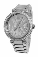 BRAND NEW WOMENS MICHAEL KORS (MK5925) PARKER SILVER GLITZ MK DIAL WATCH