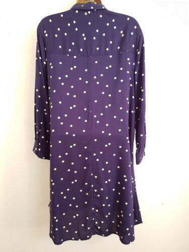 NEW Debenhams 10-20 Spotted Shirt Dress Navy Blue White Polka Dot Tunic Top