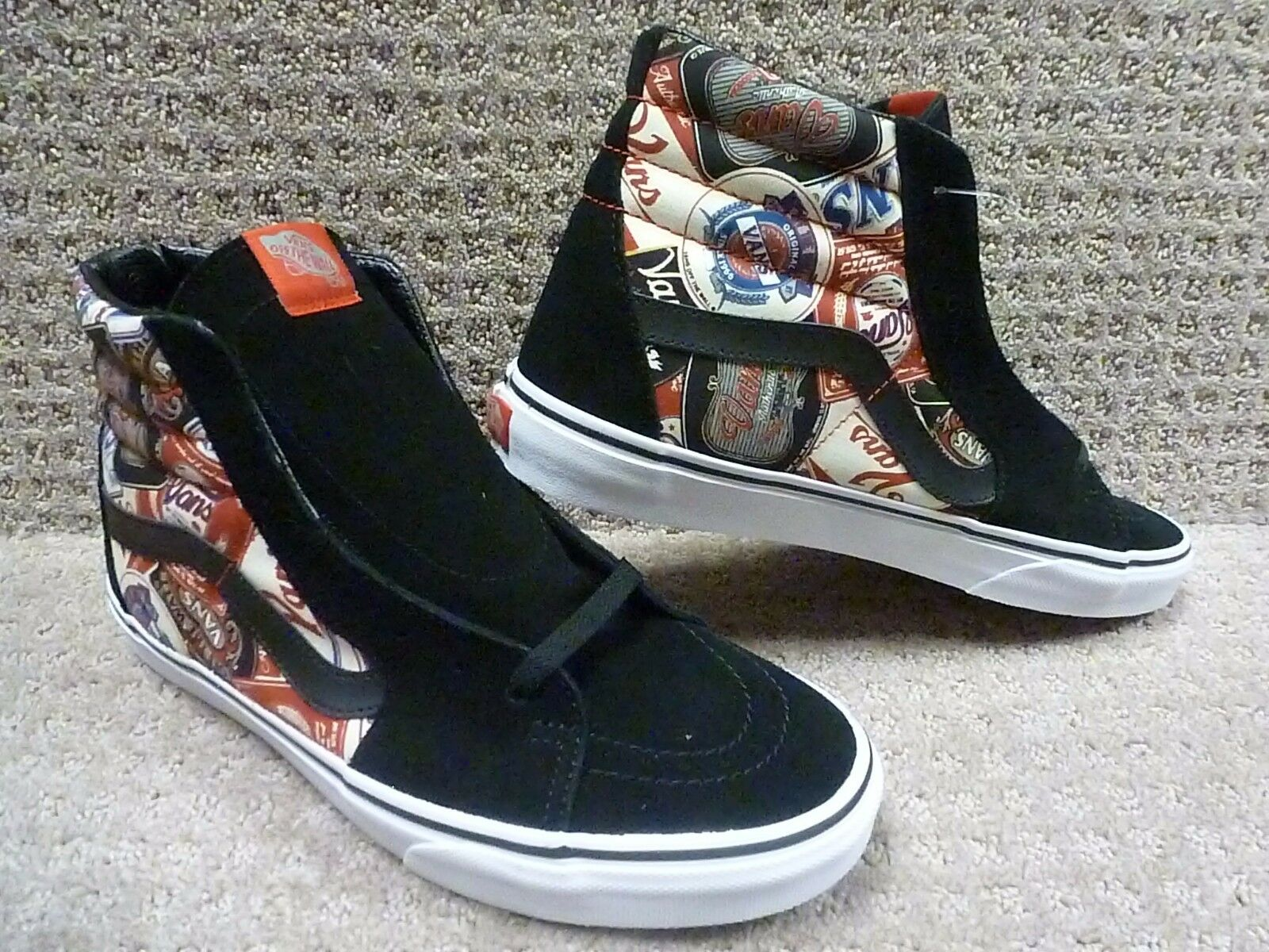 Vans Herren Schuhe   Sk8-Hi   (Etiketten) Schwarz Weiß