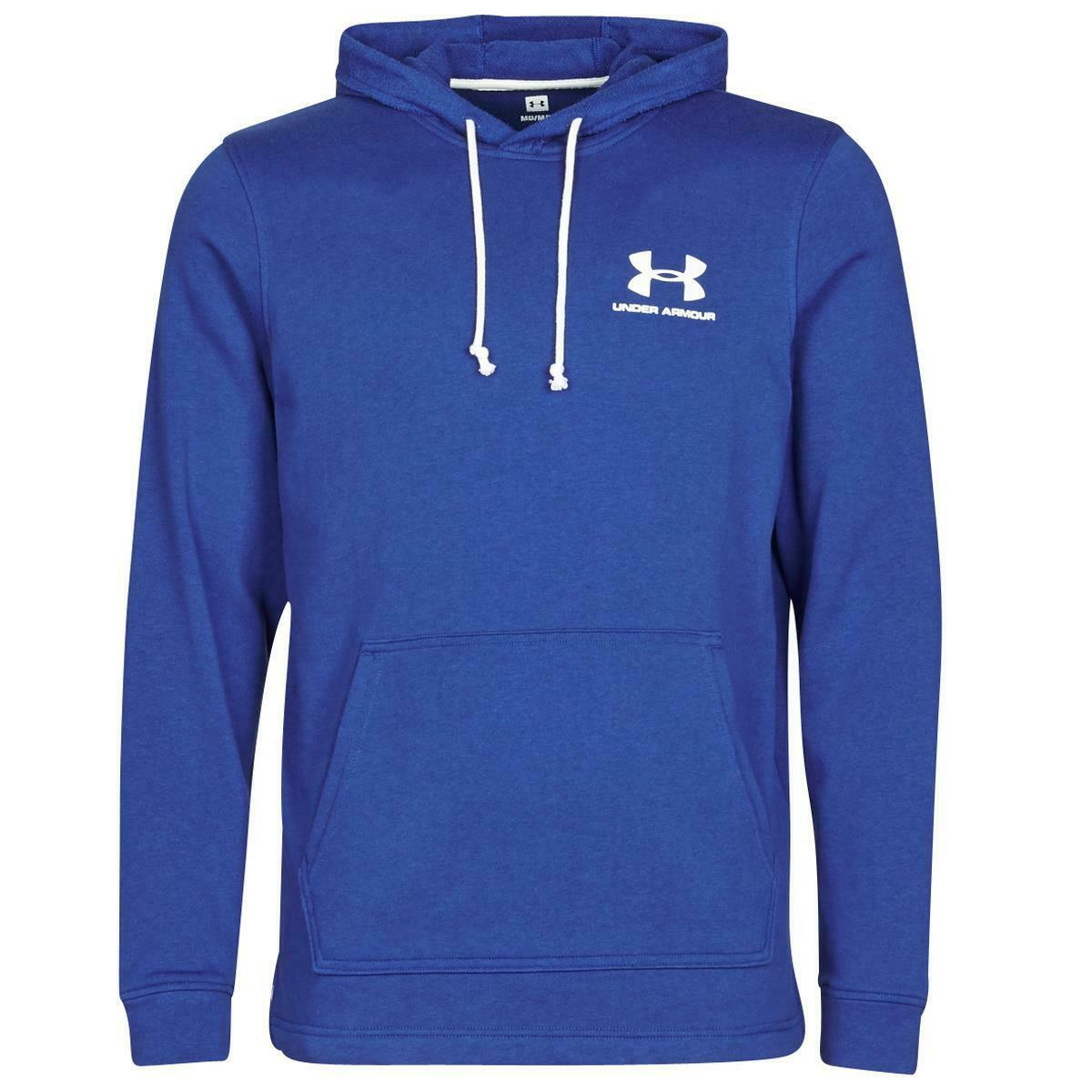 Under Armour Mens Terry Sportstyle Hoodie Gym Lightweight Pullover Blue