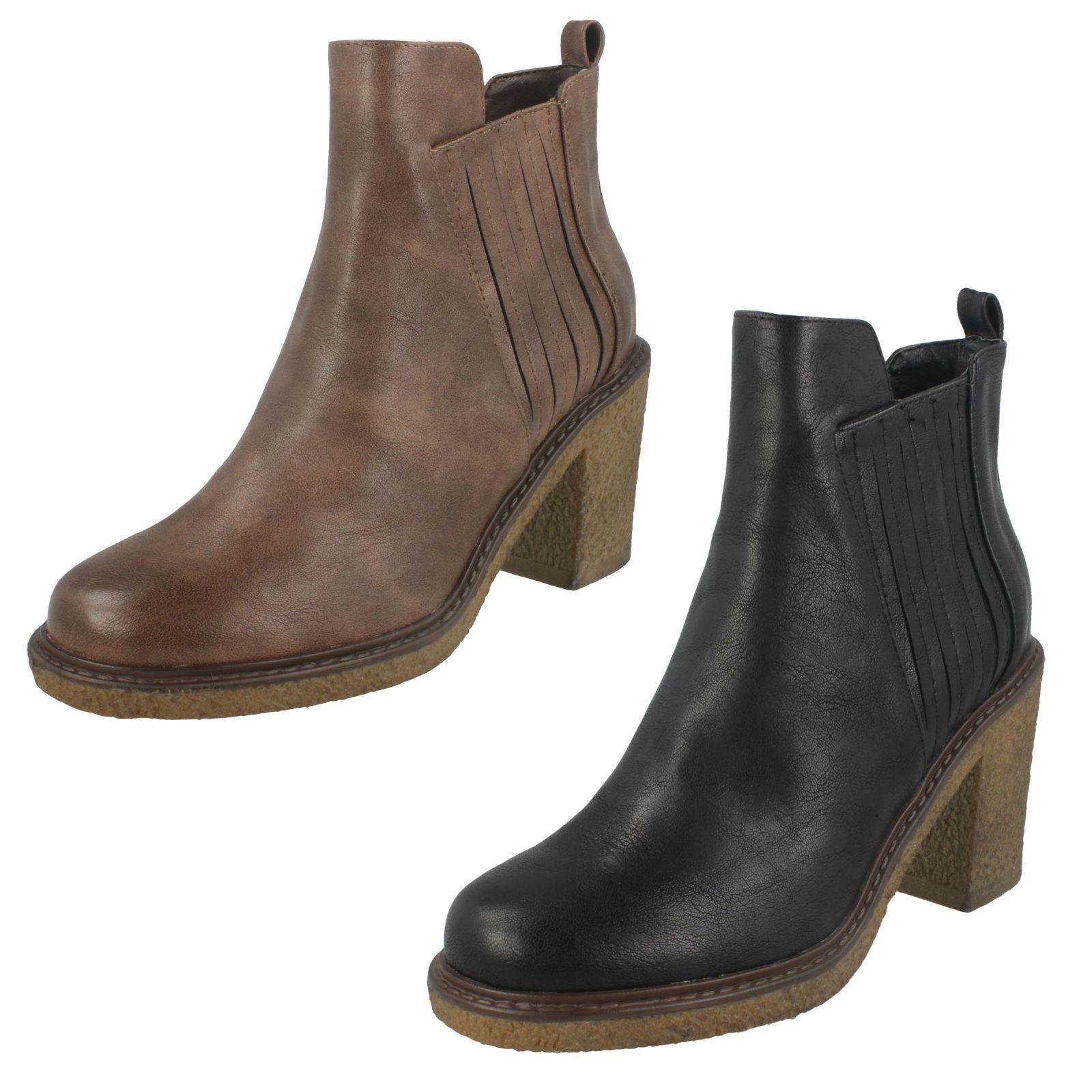 Damen Schwarz Braun Down To Erdung Reißverschluss Blockabsatz Modische Stiefel  | Grüne, neue Technologie