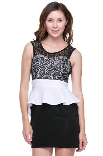 Women Dress Mini Lace peplum clubwear black white casual backless party dresses