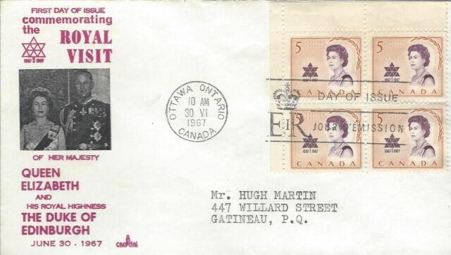 1967 #471 Royal Visit UL CR BLK FDC with Capital cachet