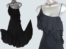 KAREN MILLEN Black Stretch Jersey Salsa Dance Style Dress 10  EU 38  £140