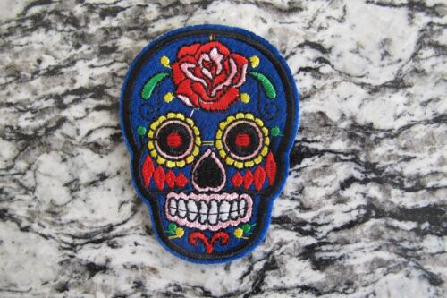 #5111A  Blue Sugar Skull Biker Motorcycle Embroidery Iron On Appliqué Patch