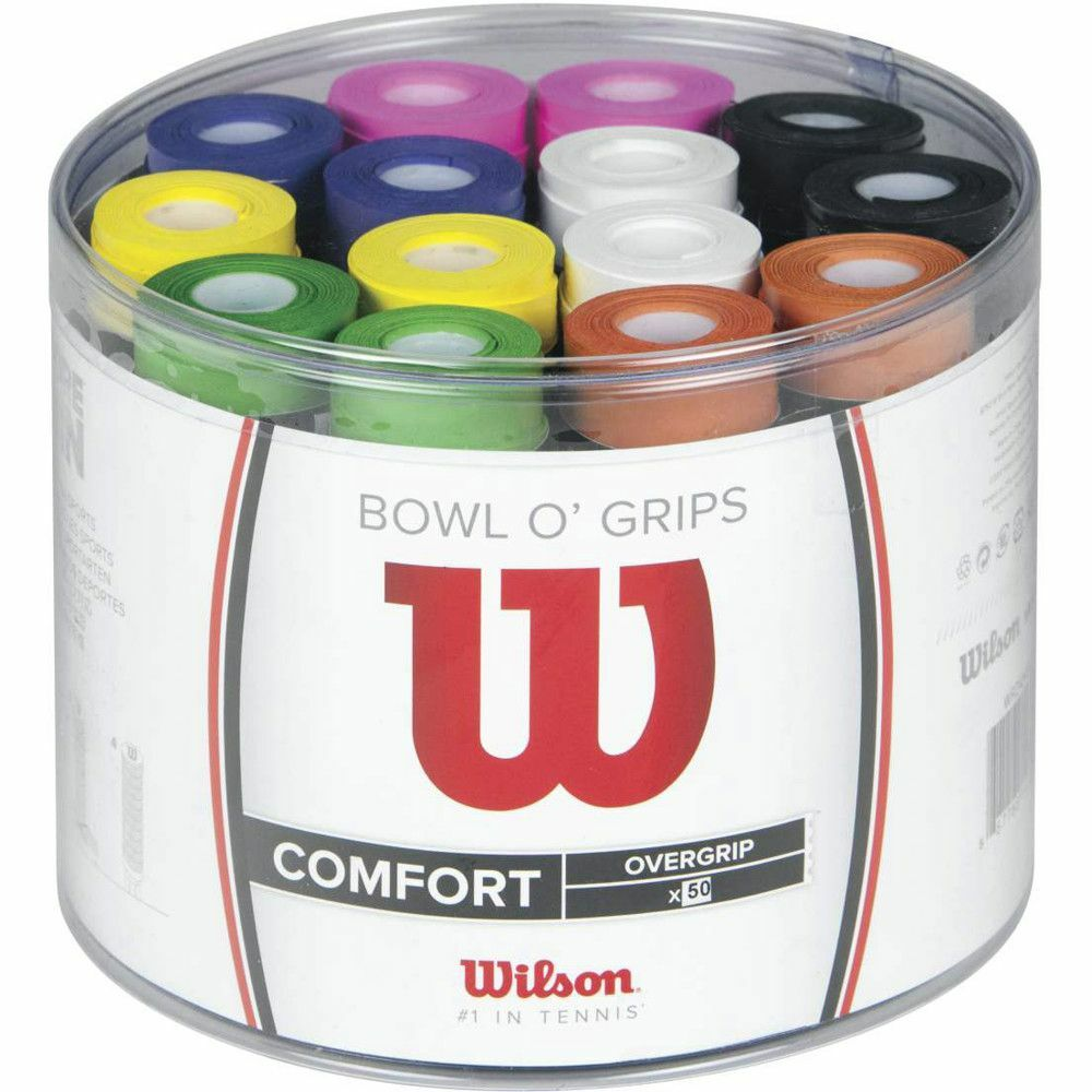 BOWL OF 50 INDIVIDUAL WILSON BOWL O GRIP TENNIS OVERGRIP VARIOUS COLOURS 2018