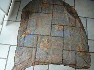 Chiffon-Tuch-Schal-95-x-95-leicht-transparent-ethno-print-Herbstfarben-rost-gruen