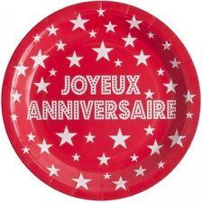 10 Assiettes Carton Jetables Joyeux Anniversaire Rouge décoration de table Fête