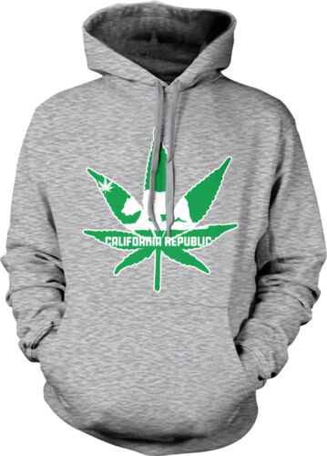 California Republic Pot Leaf Outline Weed 420 Ganja Hoodie Pullover Sweatshirt