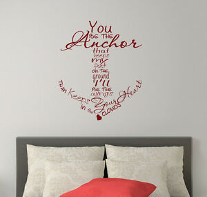 Anchor wall decals family quote vinyl stickers nautical for Bedroom nothing lasts chords