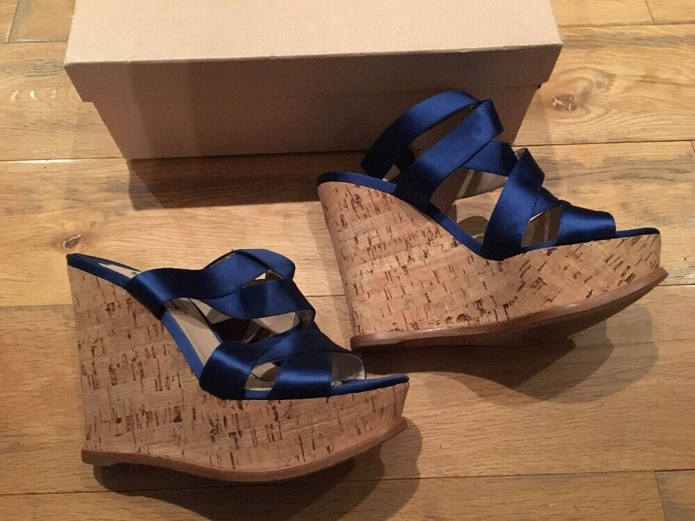 PRADA Blau Sandals Satin Cork Wedge Platform Sandals Blau EU 39.5 UK 6.5 7 US 9.5 New b4f61d