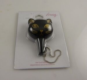 Cell-phone-electronics-ear-bud-splitter-2-can-listen-to-music-or-movie-black-cat