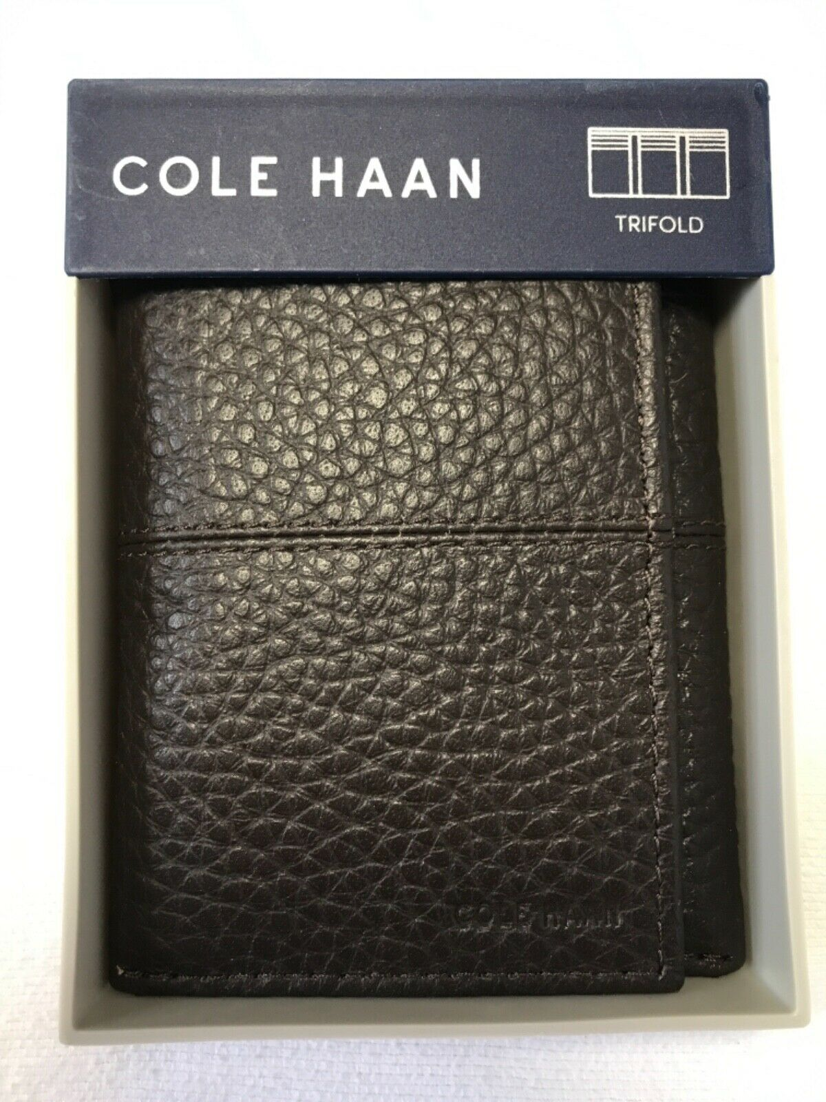 COLE HAAN MENS WALLET TRIFOLD LEATHER CHOCOLATE BROWN RETAIL- NIB