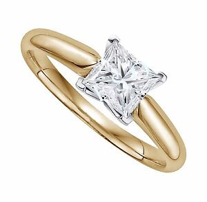 2 Ct Princess Cut Solitaire Engagement Ring Square Set In 14k Solid