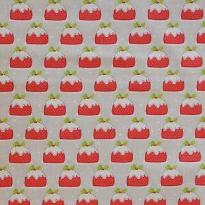 Christmas-Pudding-Polycotton-Fabric-Material-White-Xmas-Red-Grey