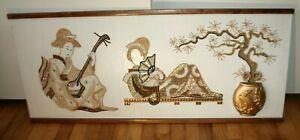 VINTAGE-MID-CENTURY-MODERN-BEAUTIFUL-PEBBLE-ROCK-GRAVEL-ART-ASIAN-SCENE-LARGE