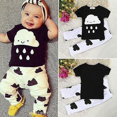 Baby Kinder Kleidung Jungen Mädchen 2tlg Set Tops T-Shirt+Hose Gamaschen Outfits