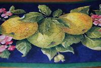 Green Apple W/ Pink Flowers Wallpaper Border W1167