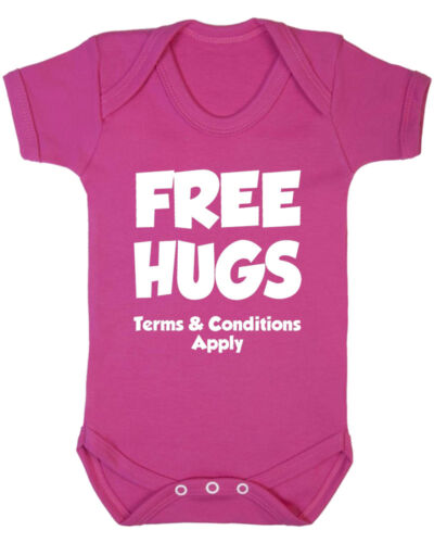 New Born B-Shirts Free Hugs Terms and Conditions Apply Baby Vest Baby Shower