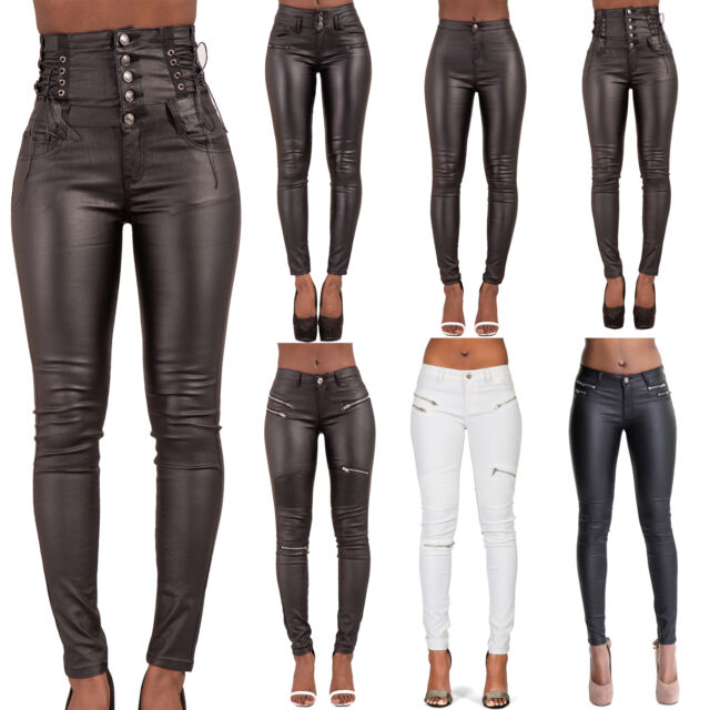 New Women's Ladies Leather Look Slim Fit Skinny 3 Button Zip Jeans UK Size 6-24