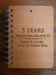 5th Wedding Anniversary Gift.Details About Personalised Wooden Notebook Journal 5th Wedding Anniversary Gift Fifth