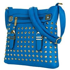 Blue Rock Studded Women's Ladies Shoulder Cross-body Bags for Tablet and Phones
