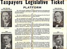Taxpayers Legislative Ticket Platform Poster Nashville Tennessee Political