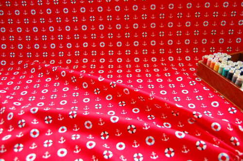 NEW 100/% Cotton Fabric NAUTICAL Blue Red White by the METRE