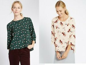 M-amp-S-Marks-Spencer-Pink-Green-Floral-Round-Neck-3-4-Sleeve-Top-Blouse-10-12-14-16