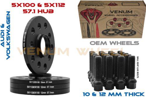 10MM /& 12MM STAGGERED AUDI//VOLKS SPACER KIT W// BALL 14X1.5 LUG BOLTS 5X100//5X112