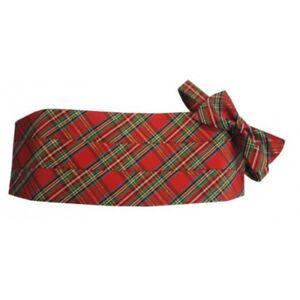 Red-Stewart-Christmas-Holiday-Tartan-Plaid-Tuxedo-Cummerbund-and-Bow-Tie-Set
