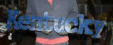 KENTUCKY recycled metal sign,original,Blue,over 3 ft long,wall decor,basketball