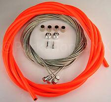 Bicycle 5mm LINED vintage ROAD bike brake cable housing kit  - NEON ORANGE